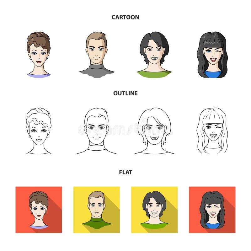 Différents regards des jeunes Icônes réglées de collection d'avatar et de visage dans la bande dessinée, contour, actions plates  illustration stock