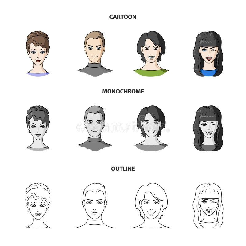 Différents regards des jeunes Icônes réglées de collection d'avatar et de visage dans la bande dessinée, contour, symbole monochr illustration stock