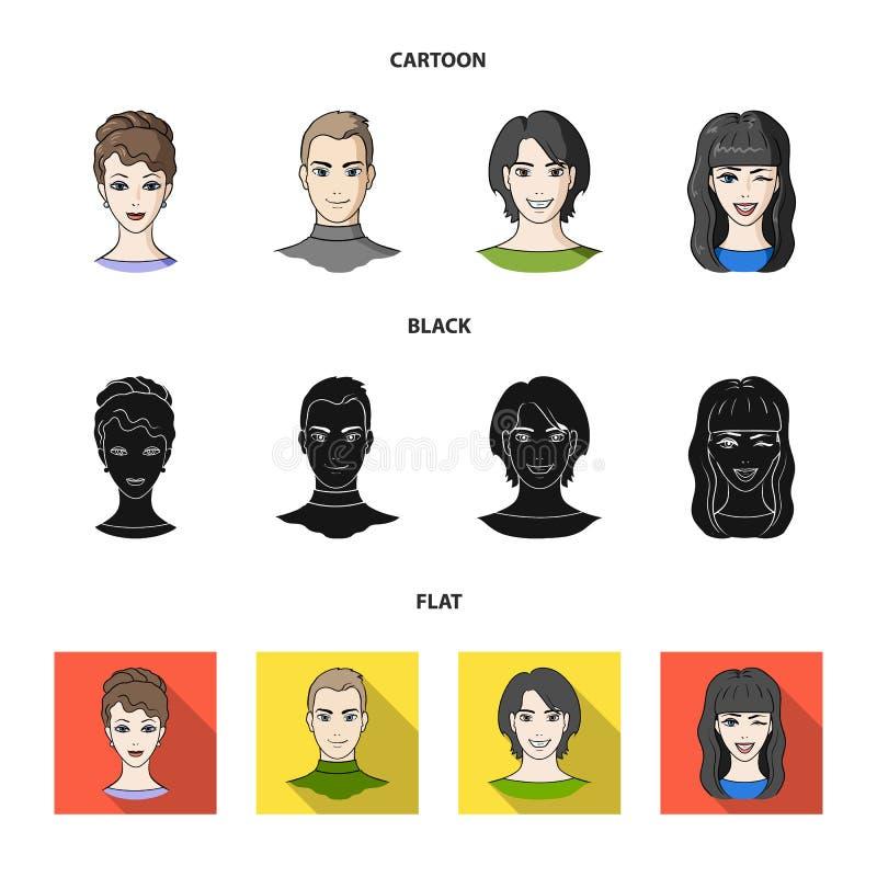 Différents regards des jeunes Icônes réglées de collection d'avatar et de visage dans la bande dessinée, noir, actions plates de  illustration stock