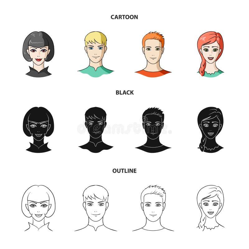 Différents regards des jeunes Icônes réglées de collection d'avatar et de visage dans la bande dessinée, noir, actions de symbole illustration de vecteur