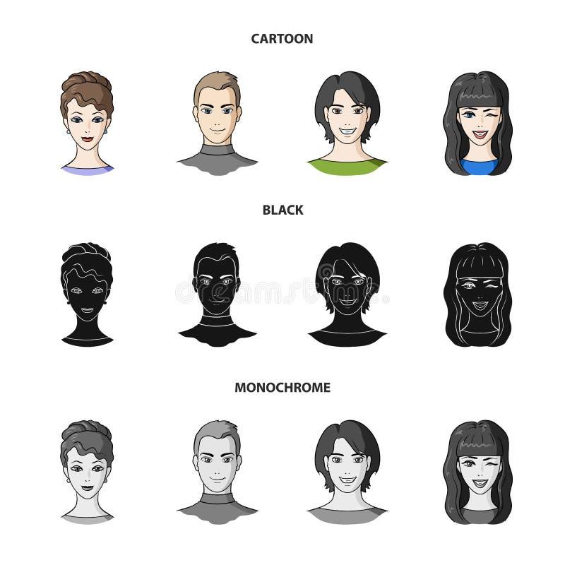Différents regards des jeunes Icônes réglées de collection d'avatar et de visage dans la bande dessinée, noir, symbole monochrome illustration libre de droits