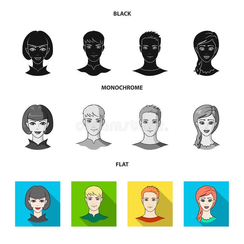 Différents regards des jeunes Icônes réglées de collection d'avatar et de visage dans le symbole noir, plat, monochrome de vecteu illustration stock