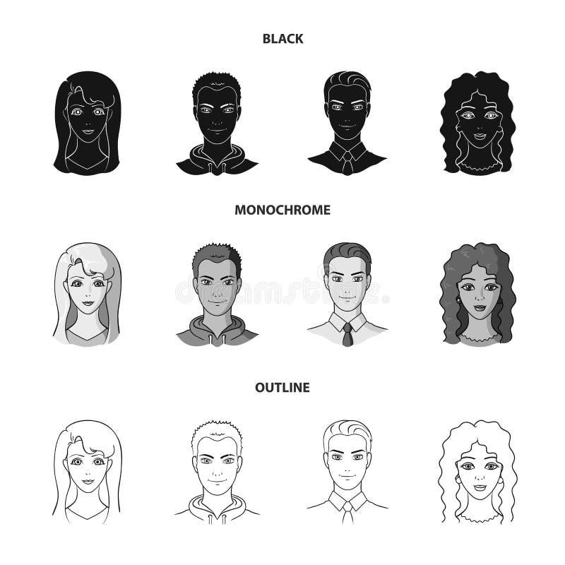 Différents regards des jeunes Icônes réglées de collection d'avatar et de visage dans noir, monochrome, symbole de vecteur de sty illustration stock