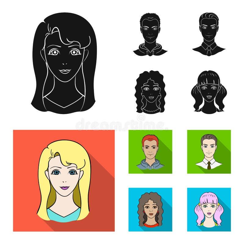 Différents regards des jeunes Icônes réglées de collection d'avatar et de visage en stock noir et plat de symbole de vecteur de s illustration de vecteur