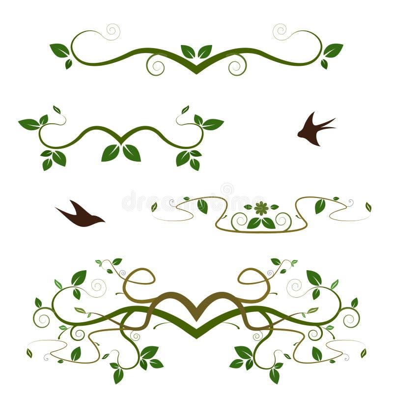Différents remous ornementaux de vert illustration stock