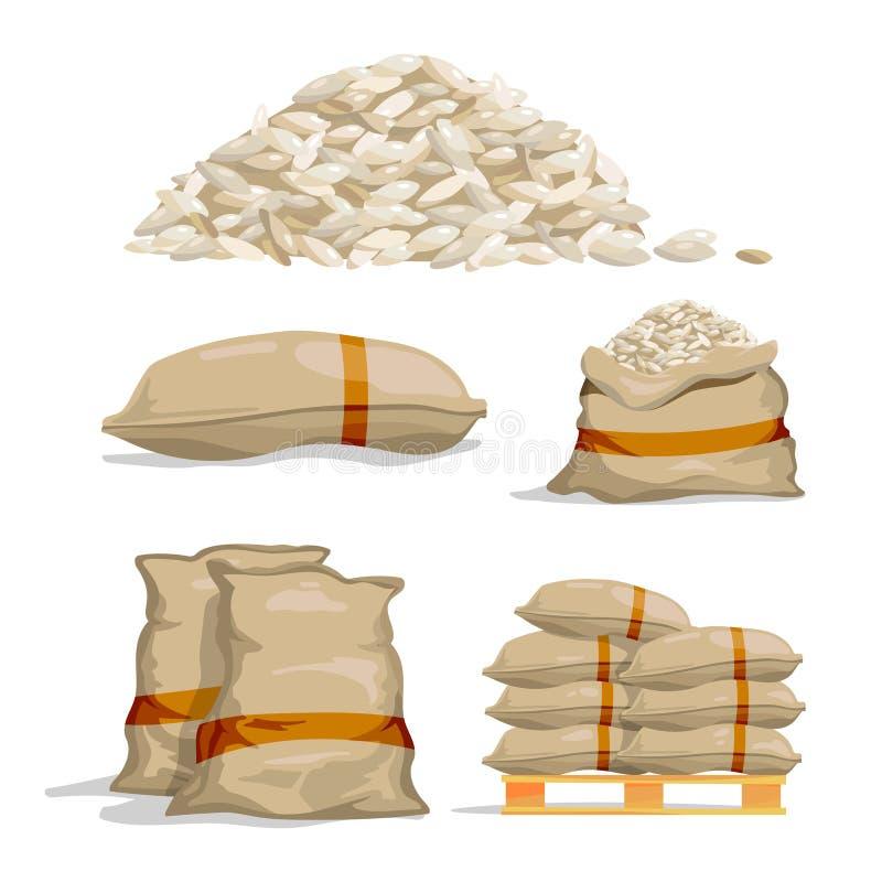 Différents sacs de riz blanc Illustrations de vecteur de stockage de nourriture illustration libre de droits