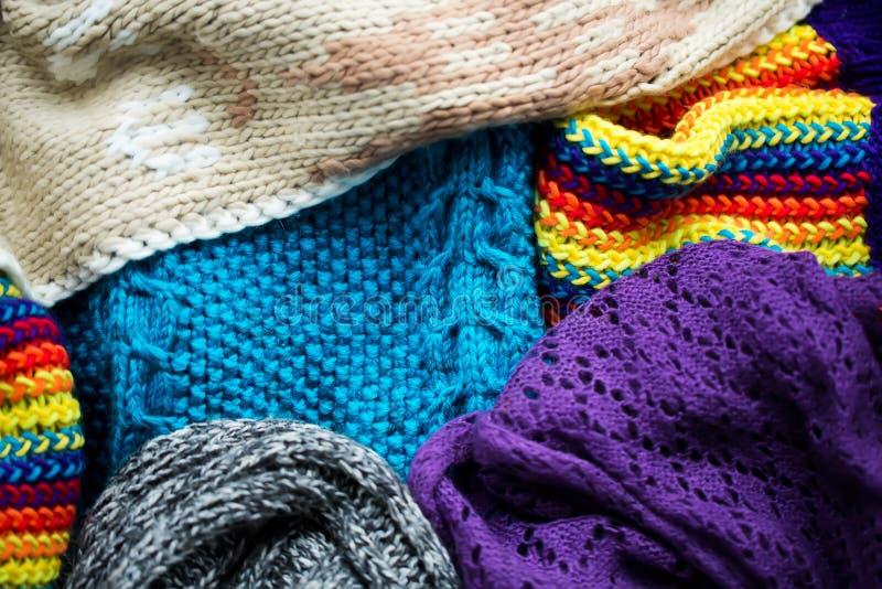 Différents tissus tricotés photographie stock libre de droits