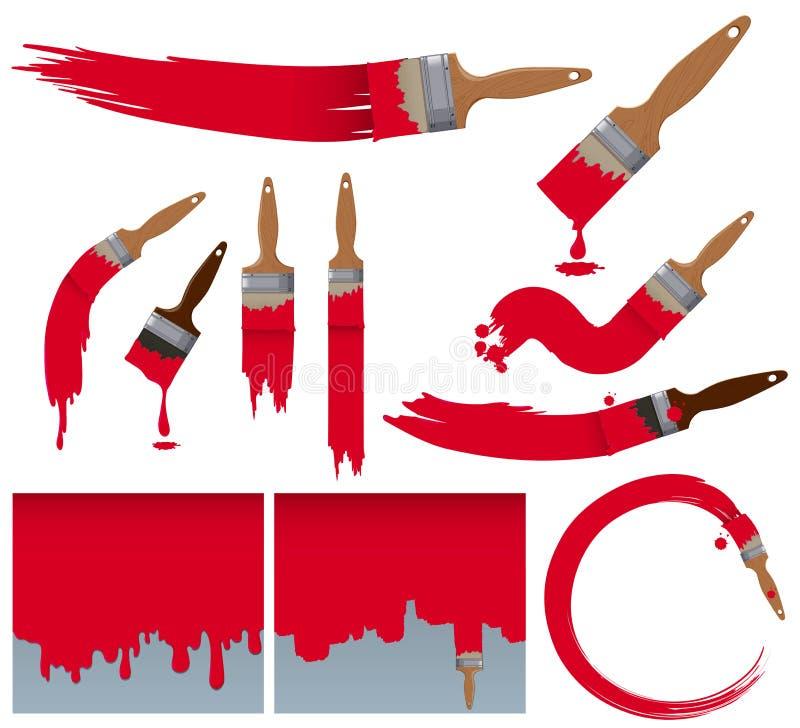 Différents traçages de pinceau en rouge illustration libre de droits