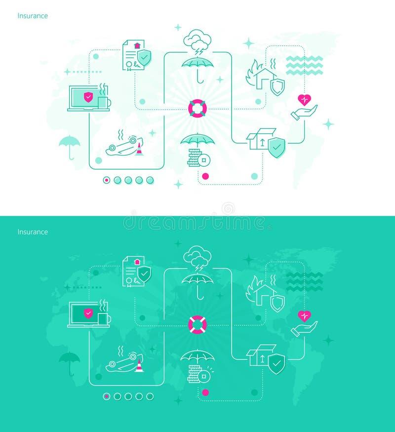 Différents types d'assurance illustration stock