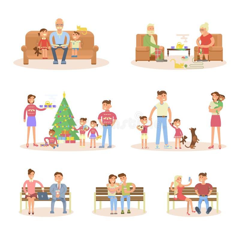 Différents types d'ensemble de ménages mariés illustration stock