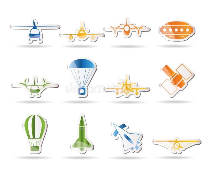 Différents types d'illustrations d'aéronefs illustration de vecteur