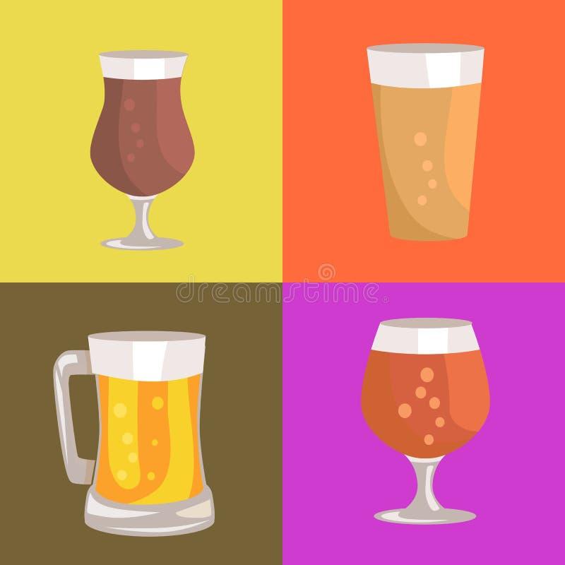 Différents types de bière sur l'illustration de vecteur illustration libre de droits