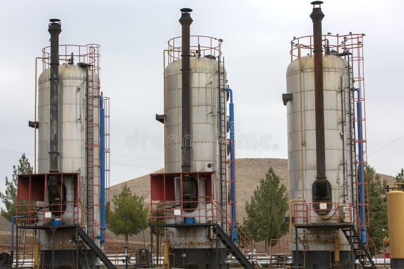 Différents types de chaudières utilisées dans l'industrie pétrolière  photographie stock