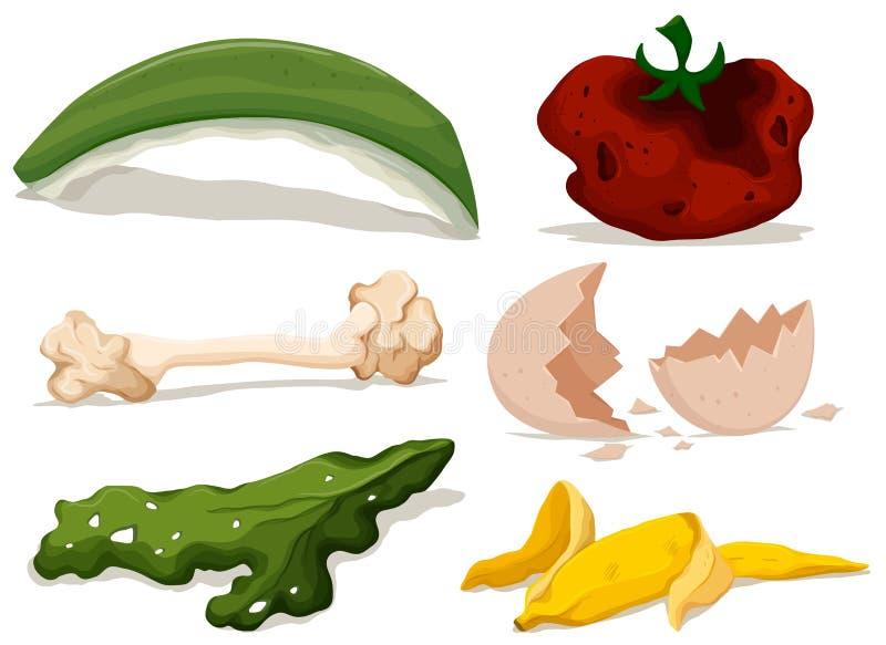 Différents types de nourriture putréfiée illustration libre de droits