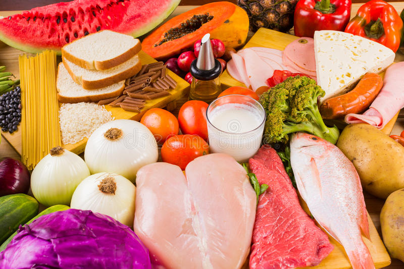 Différents types de nourritures photographie stock