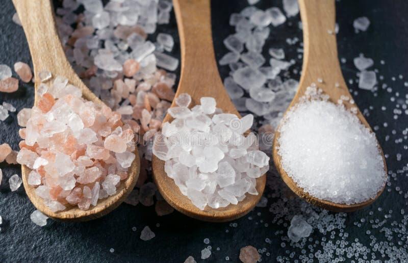 Différents types de sel Vue supérieure sur trois cuillères en bois images libres de droits