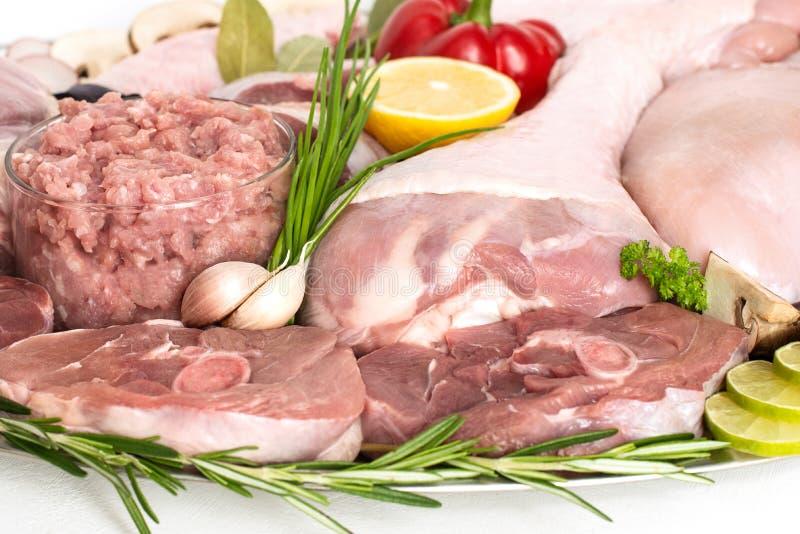 Différents types de viande de dinde et de poulet, biftecks illustration de vecteur