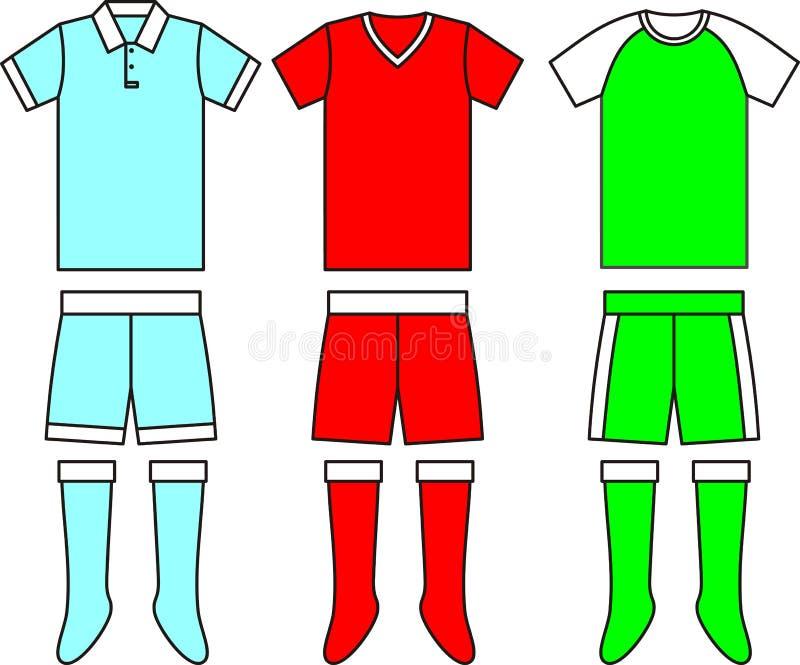 Différents uniformes du football du football. Vecteur illustration libre de droits
