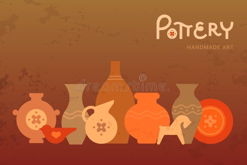 Différents vases à poterie dans la vue horizontale Céramique faite main Clay Pottery Workshop Signe créatif artisanal de pot de m illustration libre de droits