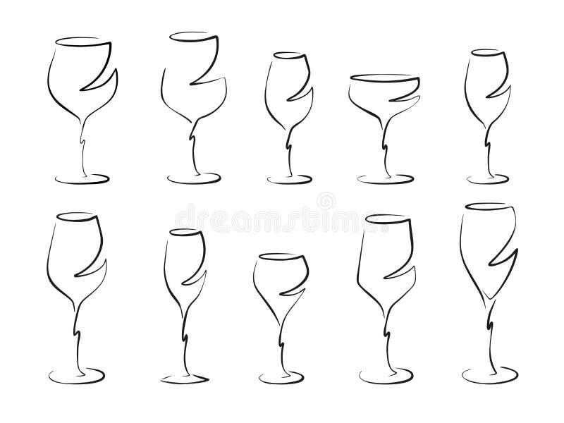 Différents verres de vin, ensemble - dirigez le dessin images libres de droits