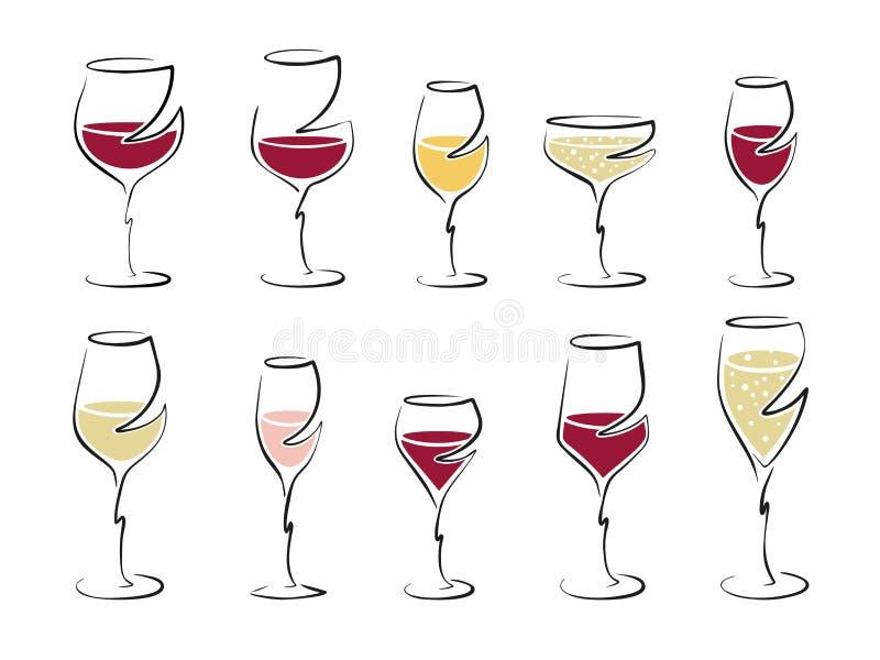 Différents verres de vin remplis de boisson, ensemble - dirigez le dessin image libre de droits