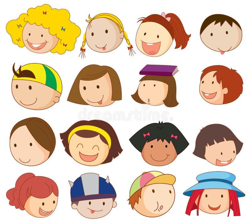 Différents visages illustration de vecteur