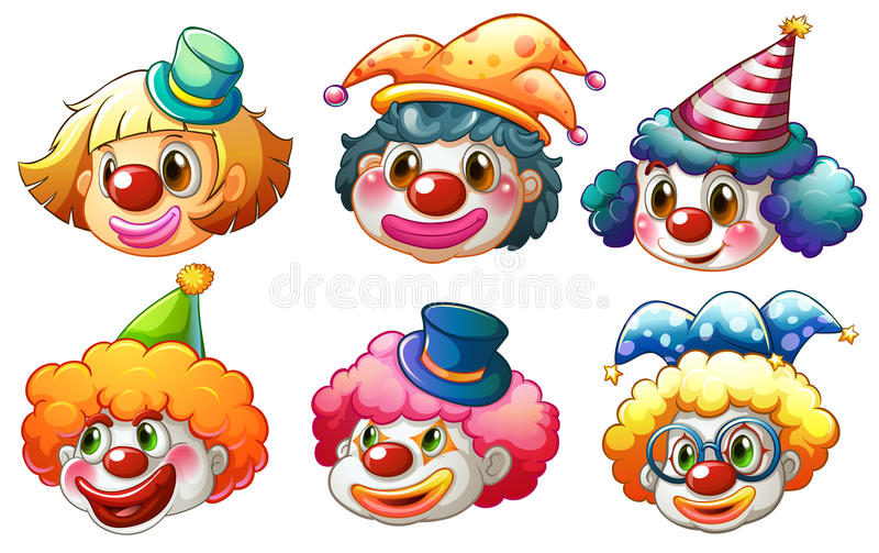 Différents visages d'un clown illustration de vecteur