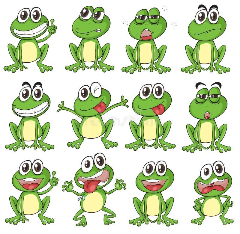 Différents visages d'une grenouille illustration libre de droits