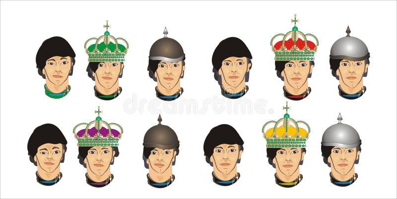 Différents visages des hommes illustration de vecteur
