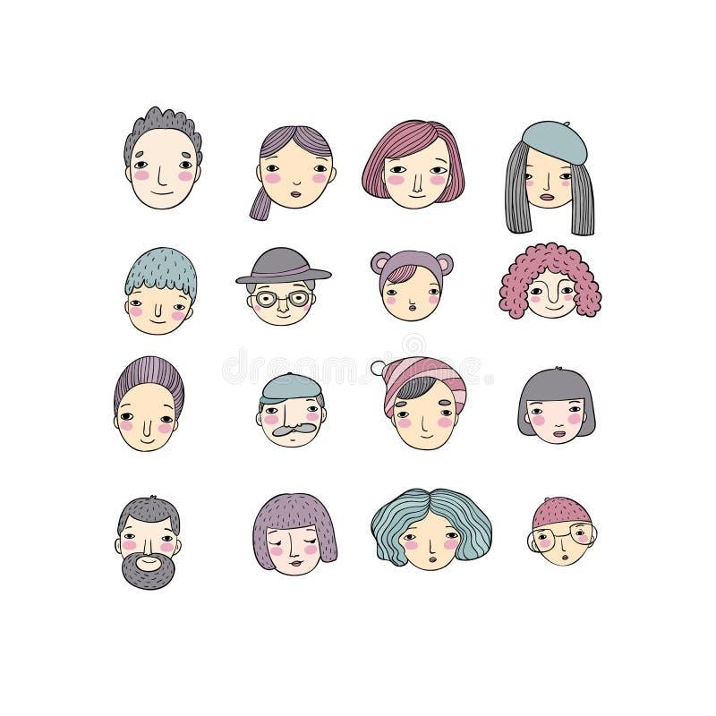 Différents visages Objets d'isolement par dessin de main illustration stock