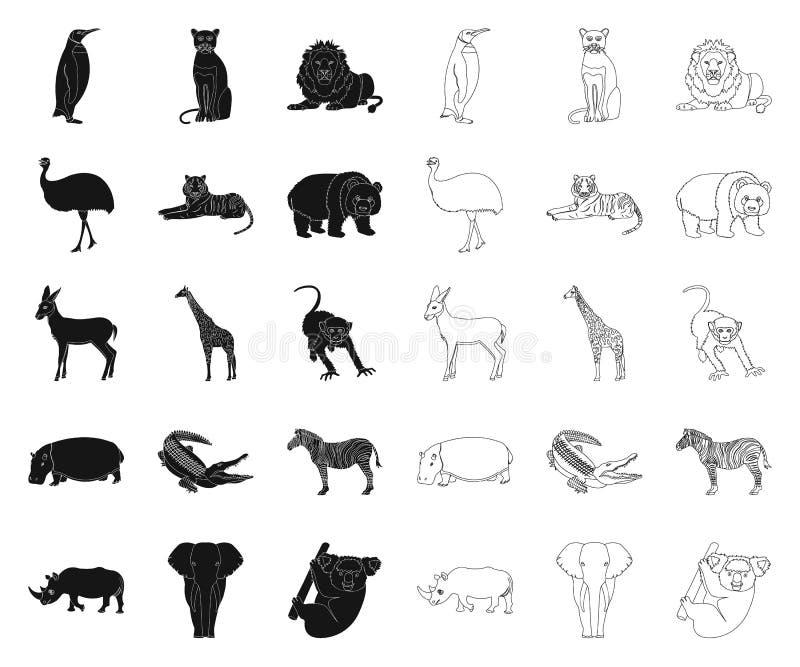 Diff?rents animaux noirs, ic?nes d'ensemble dans la collection r?gl?e pour la conception L'oiseau, le pr?dateur et l'herbivore di illustration de vecteur