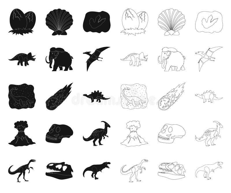 Diff?rents dinosaures noirs, ic?nes d'ensemble dans la collection r?gl?e pour la conception Web animal pr?historique d'actions de illustration libre de droits