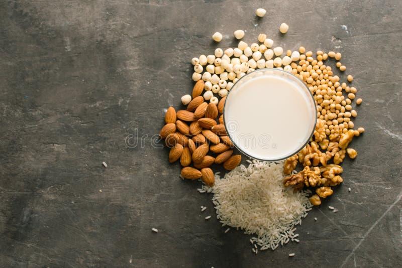 Diff?rents types de lait sans aucun produit laitier photographie stock