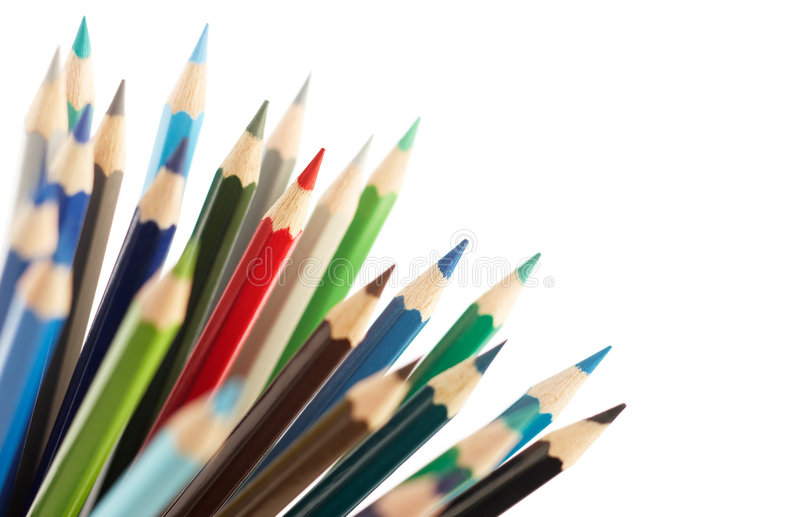 Difference. Red color pencil difference from the others stock images