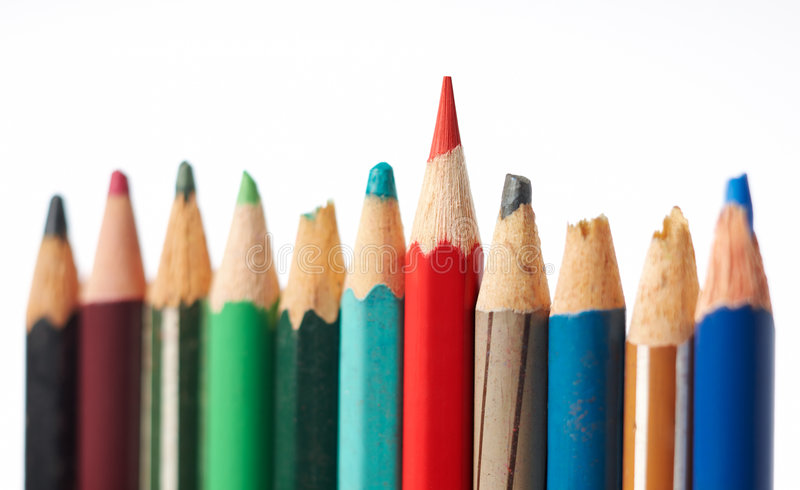 Difference. Showing difference and outstanding using color pencil stock photos