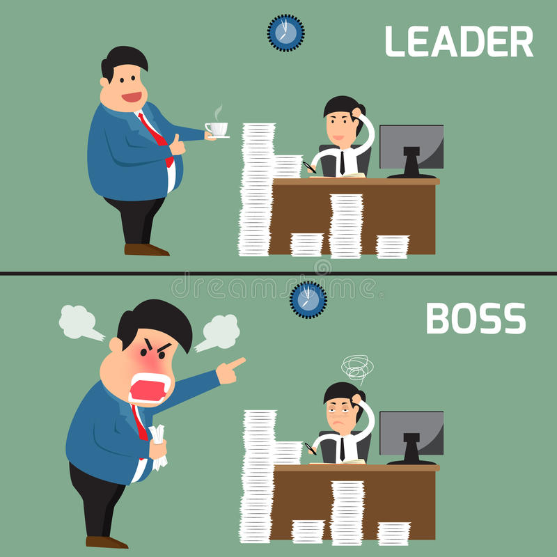 Difference between boss and leader. Boss help employee for working to success, Boss shouts to employee in work royalty free illustration