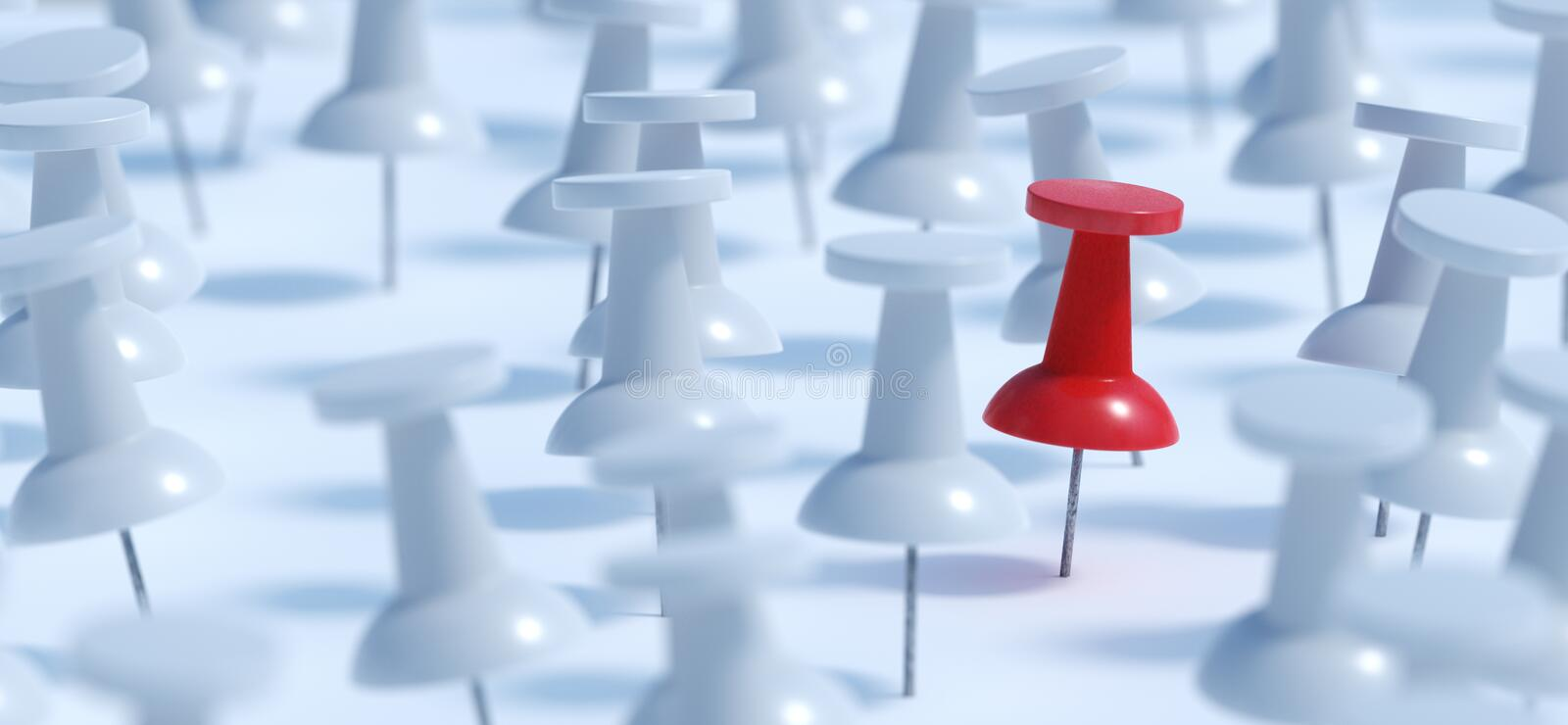 Difference concept. Red pushpin or thumbtack and many white ones. 3D rendered illustration. Difference concept. Red pushpin or thumbtack and many white ones. 3D vector illustration
