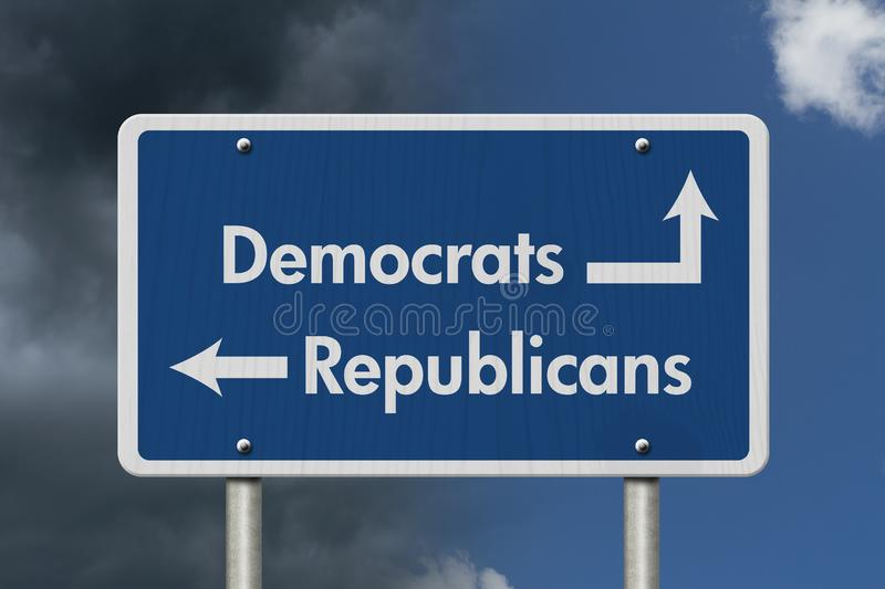 Difference between Democrats and Republicans stock image