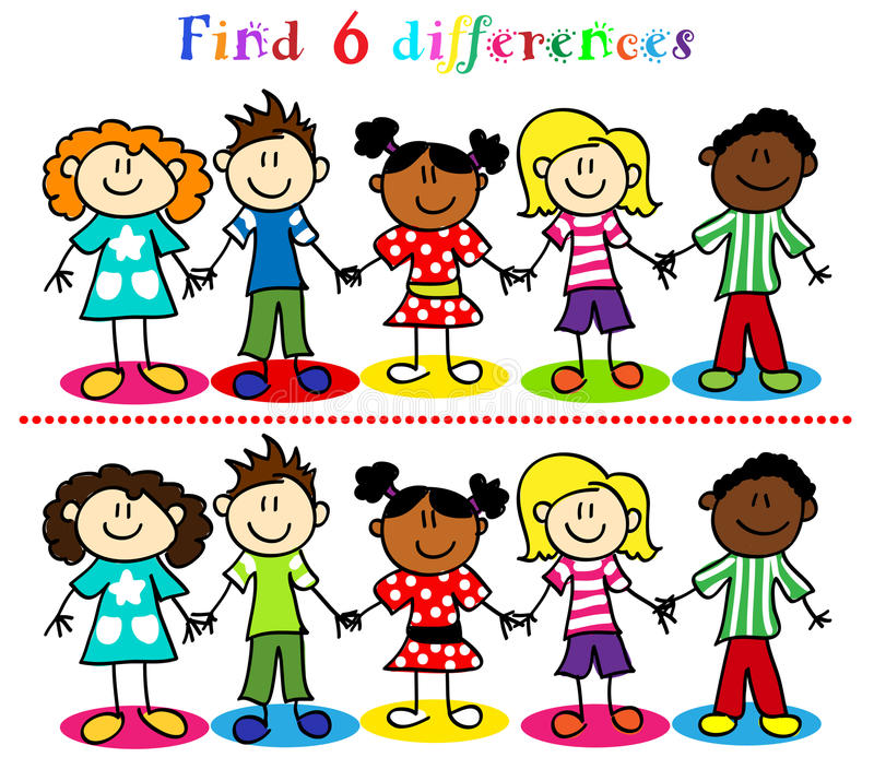 Difference Game With Kids Stick Figures Royalty Free Stock Photo