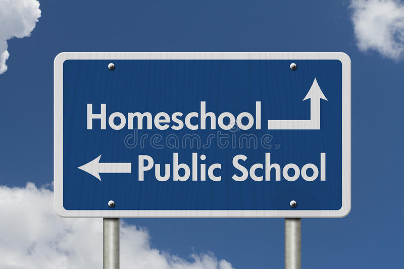 Difference between going to HomeSchool or Public School stock photo