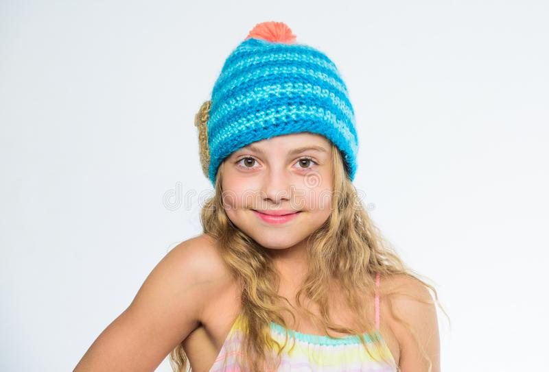 Difference between knitting and crochet. Fall winter season accessory. Free knitting patterns. Knitted hat with pompon royalty free stock photos