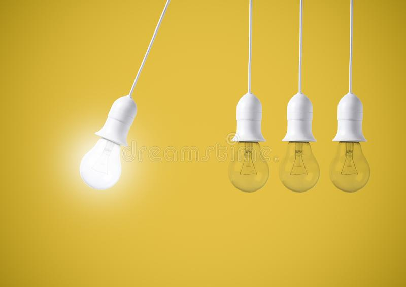Difference light bulb on yellow background. concept of new ideas. With innovation and creativity stock images