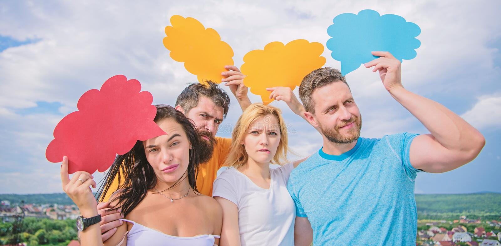 Difference between men and women. Thoughts of different sex. Bearded man and girl with speech bubbles. Diversity concept stock photos