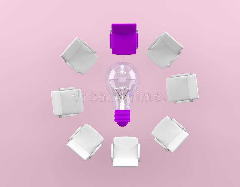 Difference of the purple chair is placed around the lamp on pink background.Minimal business concept.  stock image
