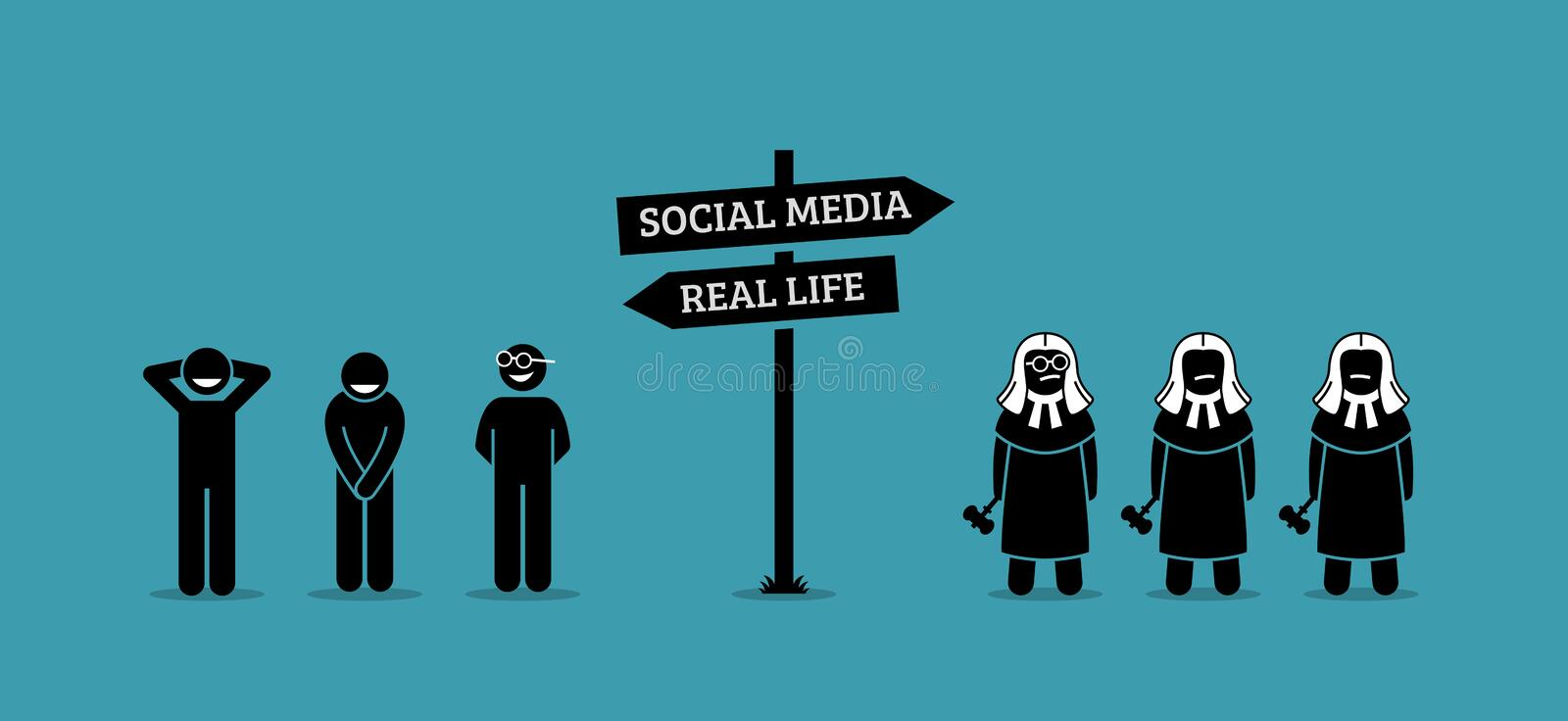 The difference between real life and social media human behaviors. vector illustration