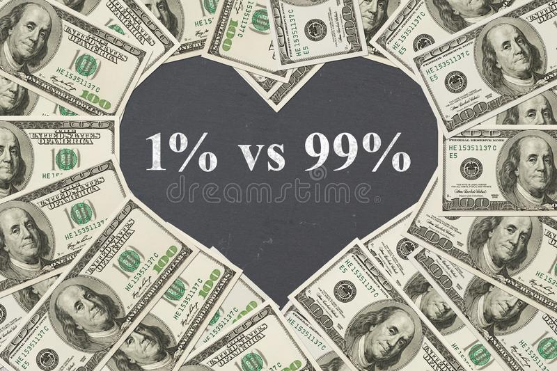 The difference between the rich and the poor message. One hundred dollar bill in the shape of a heart with a chalkboard heart with text 1% vs 99 stock photos