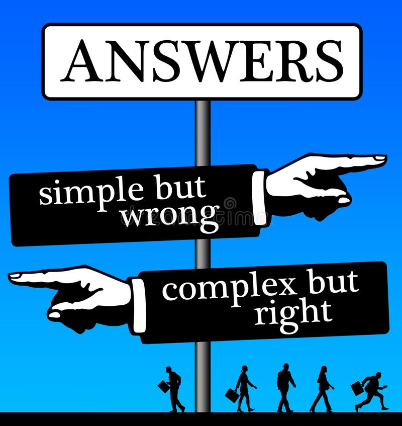 Simple complex answers royalty free illustration