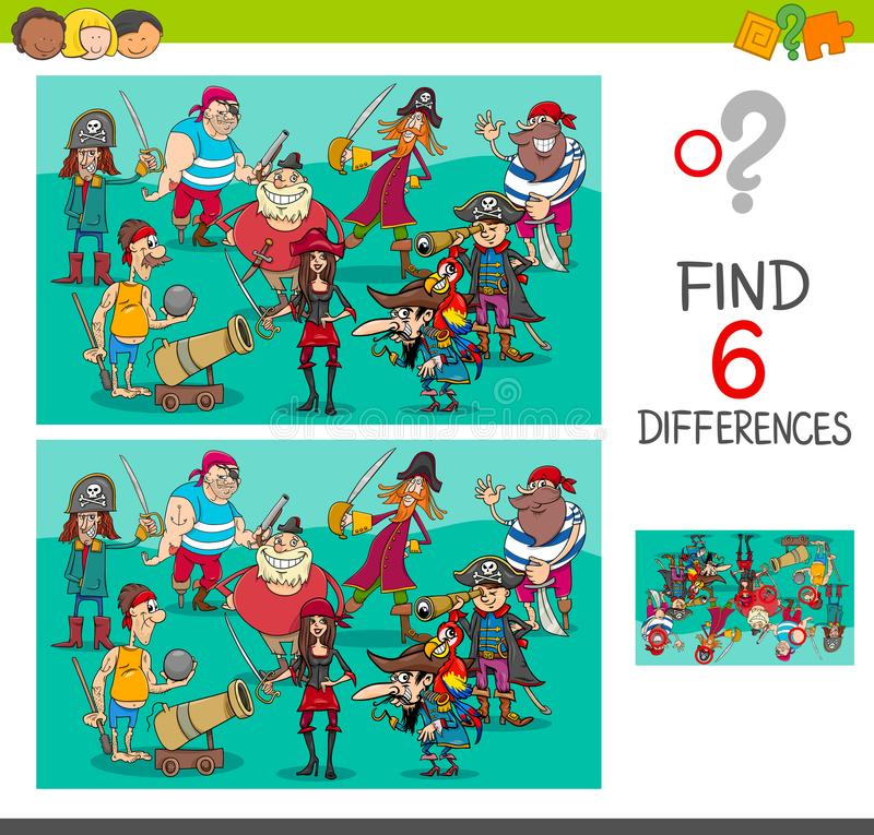 Animation Character Design Spot : Differences game with pirate characters stock vector