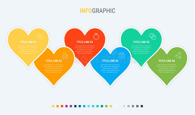 Timeline infographic design vector. 6 options, hearts workflow layout. Vector infographic timeline template. Vector infographics timeline design template with stock illustration