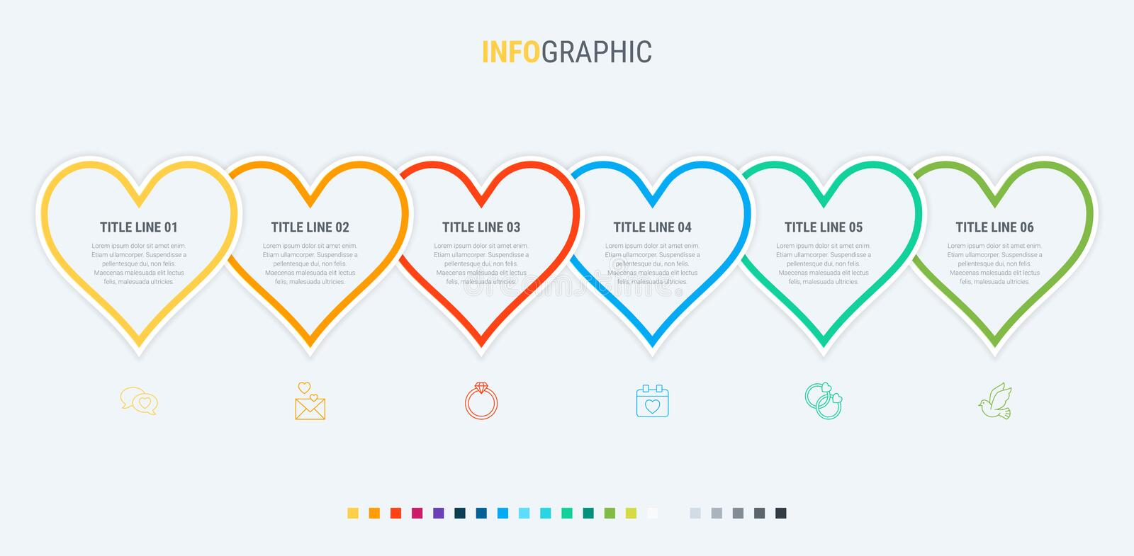 Vector infographics - valentines day, mothers day, wedding, love and romantic events. Colorful diagram, infographic template. Love infographic template with 6 vector illustration